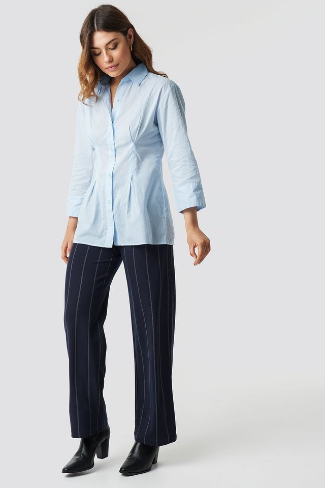 Pleat Detail Oversized Shirt Outfit.