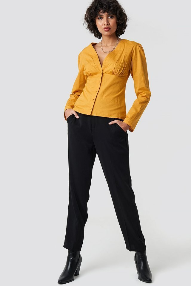 V-Neck Buttoned Front LS Top Outfit.