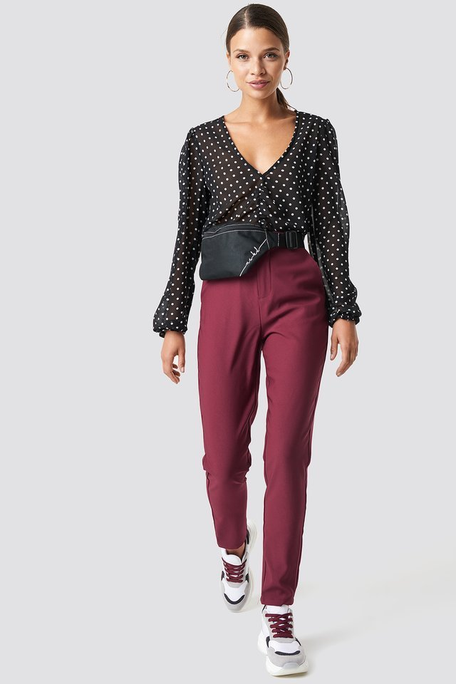 Red/White Dots Gathered Front LS Blouse