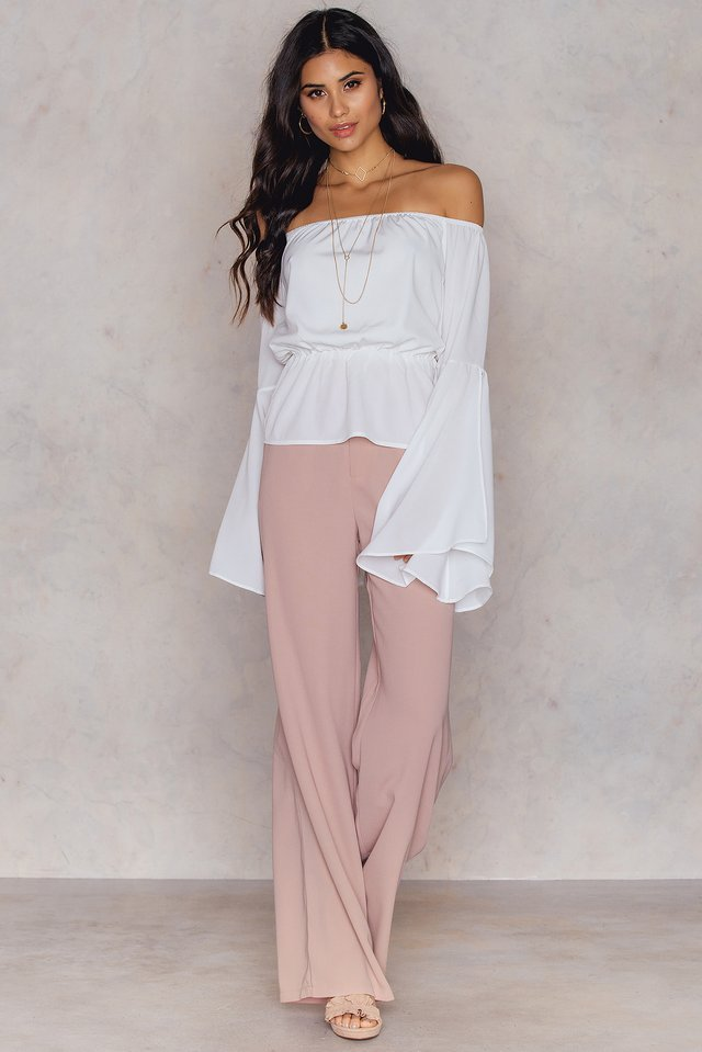 Off Shoulder Flare Sleeve Top Outfit.