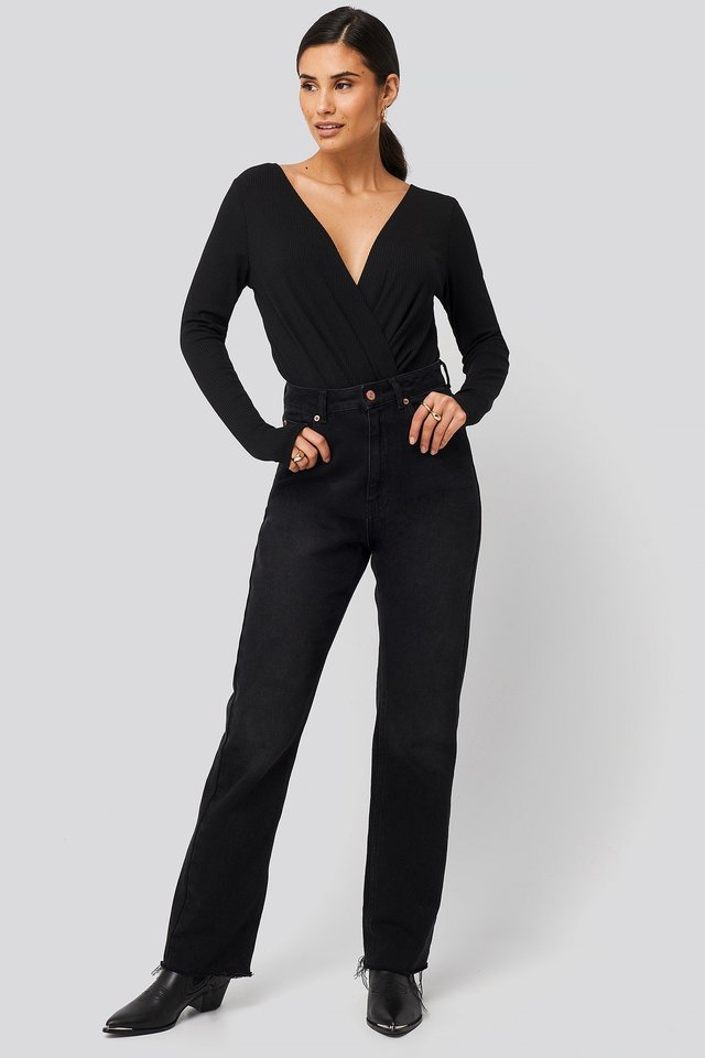 Ribbed Overlap Long Sleeve Body Outfit.