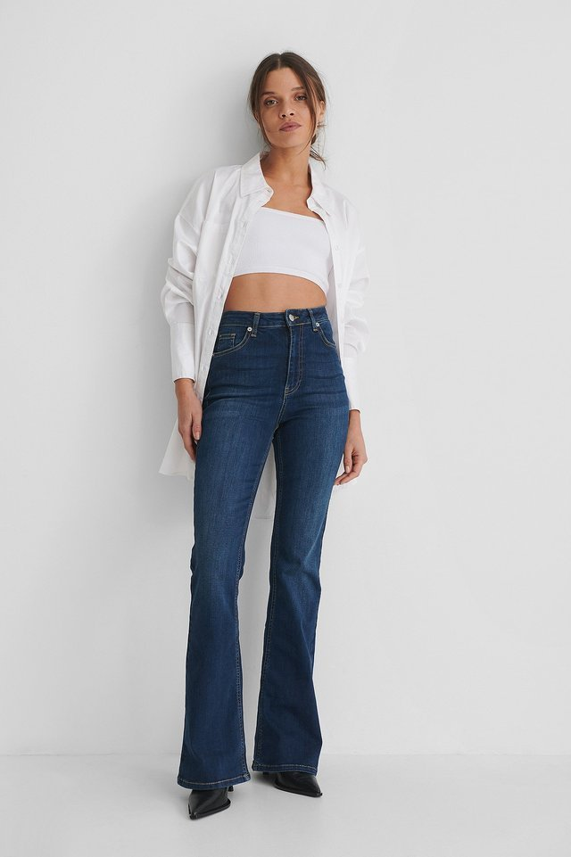 Bootcut High Waist Skinny Jeans Blue Outfit.
