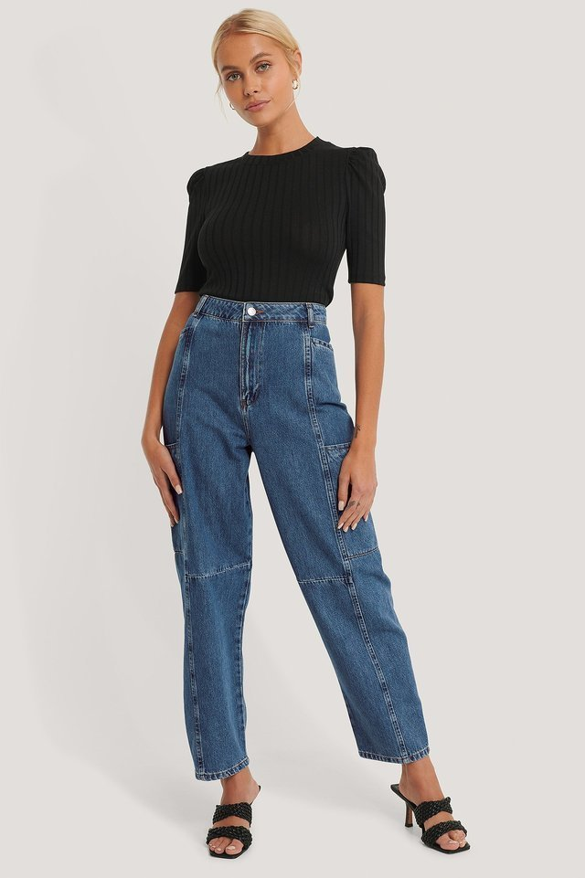Organic Loose Leg Balloon Jeans Blue Outfit.