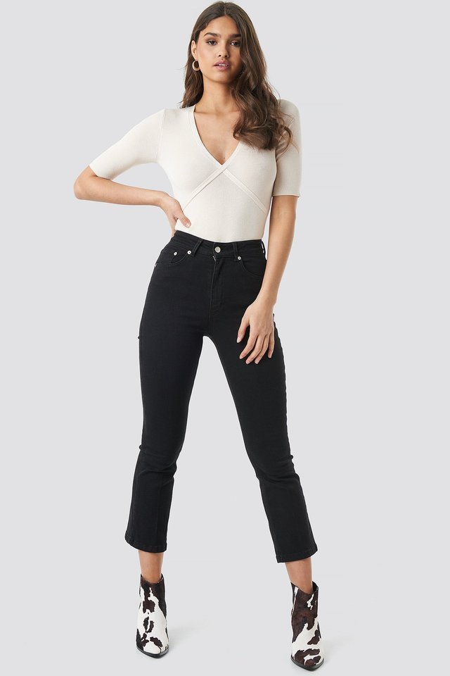 Black Mid Rise Cropped Flared Jeans