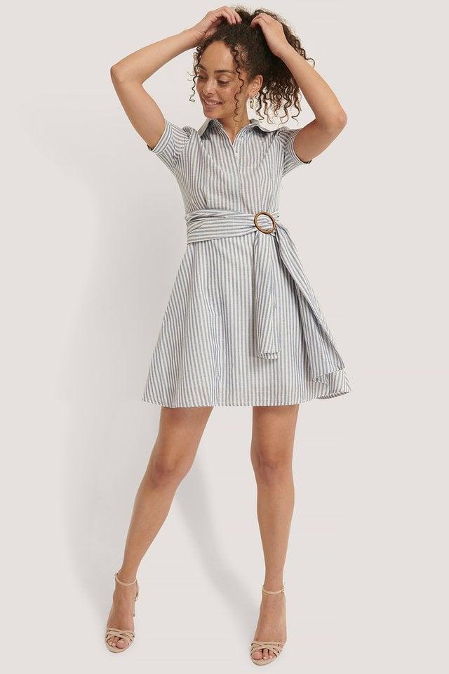Indigo Miniklänning Med Bältesdetalj