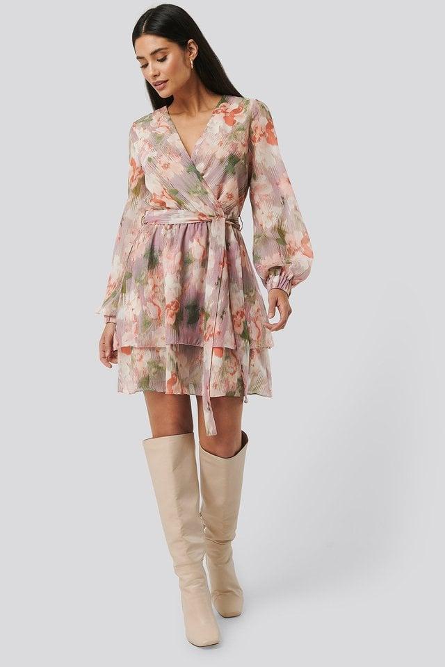 Belted Chiffon Dress Outfit.
