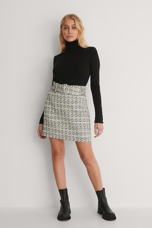 Belted Twisted Mini Skirt Outfit.