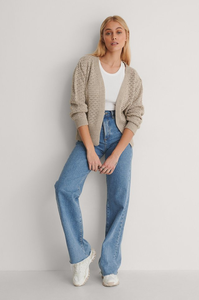 Open Knit Cardigan Outfit.