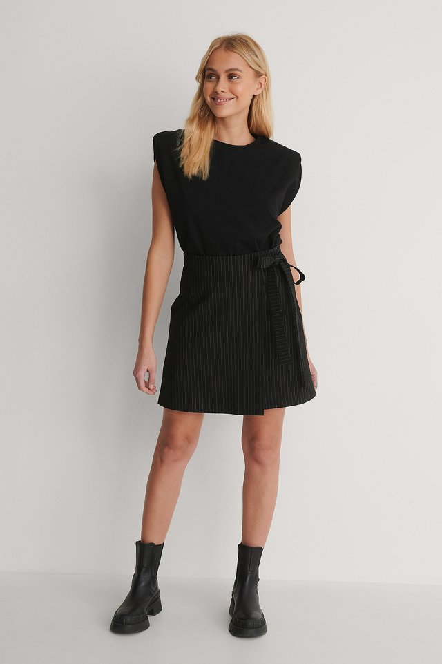 Tie Side Pinstripe Skirt Outfit.