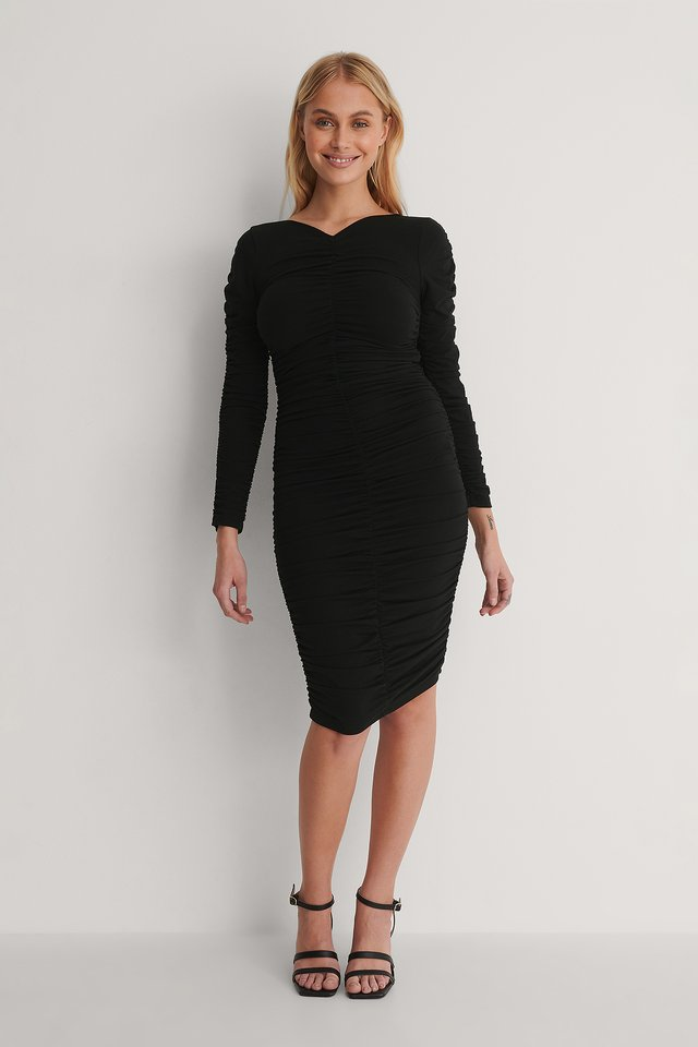Rouched Detail Mini Dress Outfit.