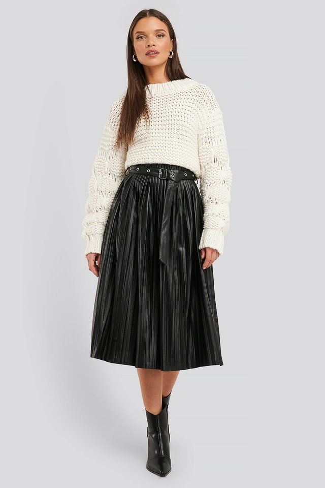 Pleated Pu Belt Skirt Outfit.