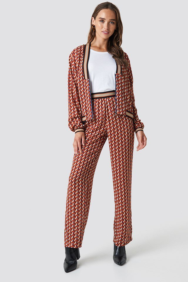 Elastic Waist Printed Pants with Front Zip Top