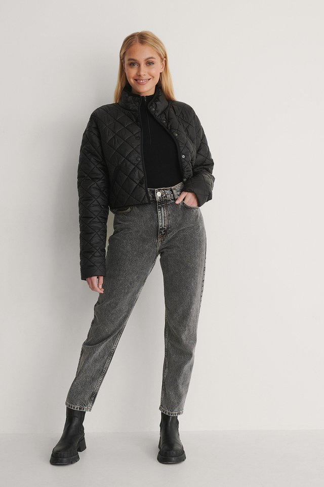 Recycled Polyester Padded Cropped Jacket Outfit.