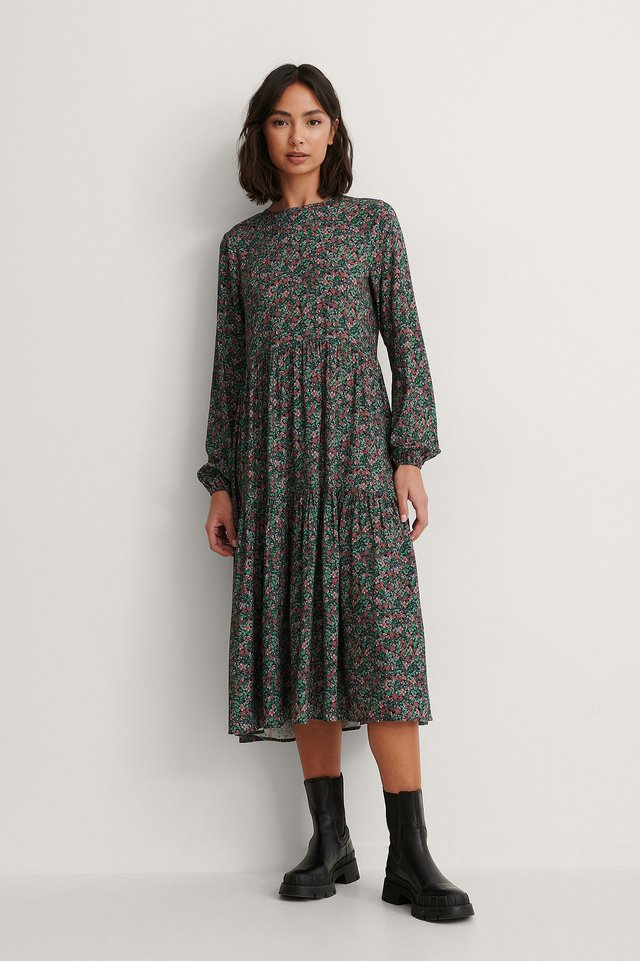 Long Sleeve Printed Flounce Dress Outfit.