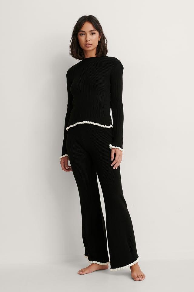 Top Pants Knit Set Outfit.
