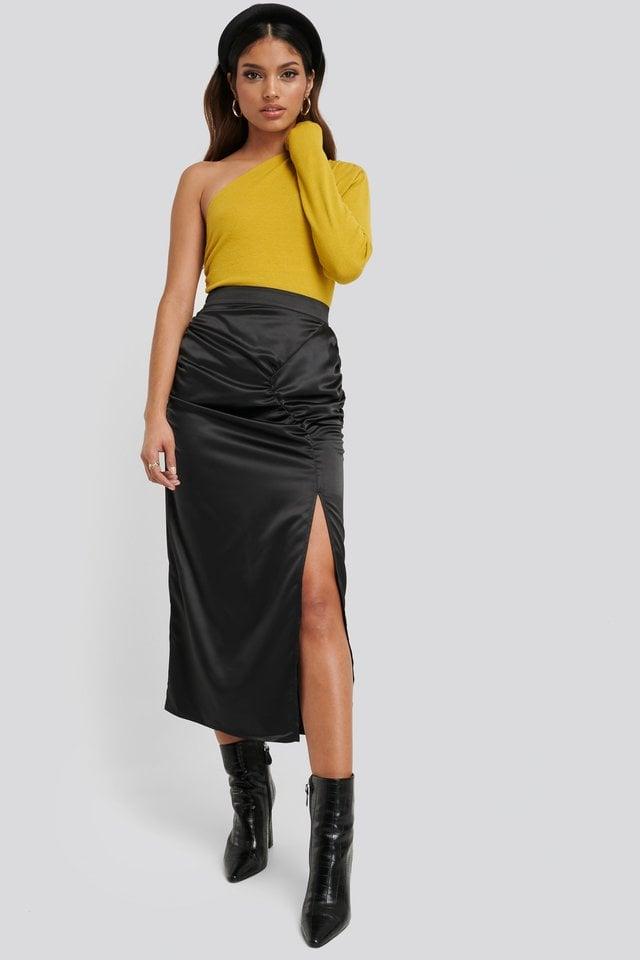 Side Split Draped Skirt Outfit.