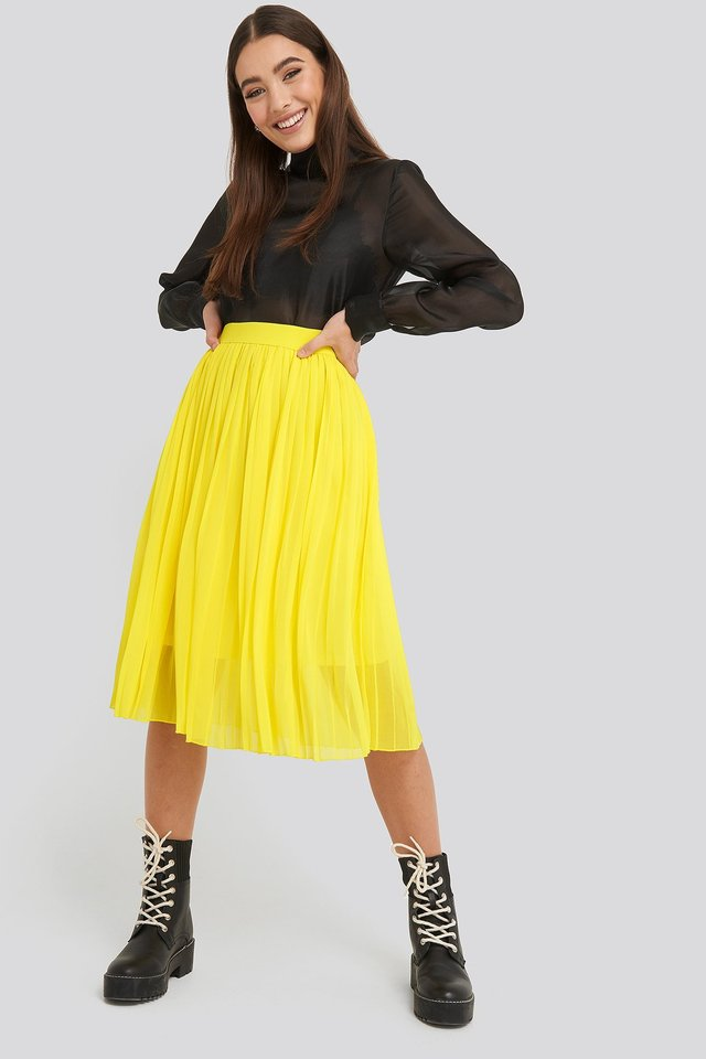 Yellow Midi Pleated Skirt