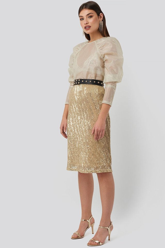 Tight Sequin Midi Skirt Outfit.