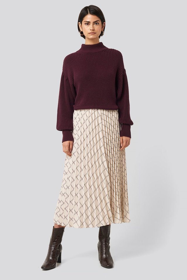 Big Check Pleated Skirt Outfit.