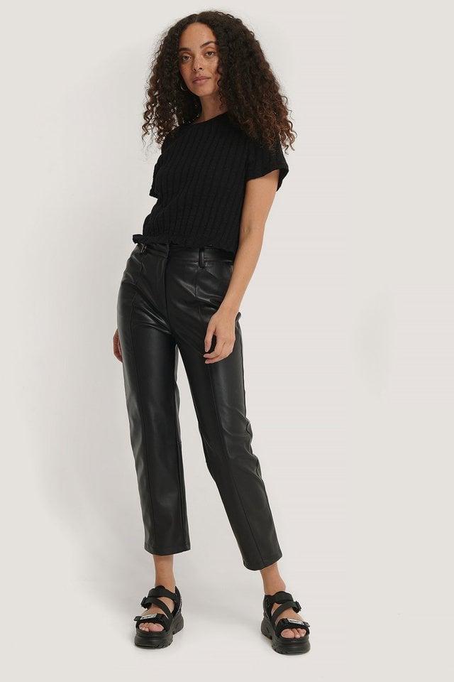 Black Seam Detail Straight PU Pants