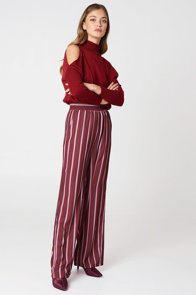 Burgundy Viscose Long Sleeve Polo Top