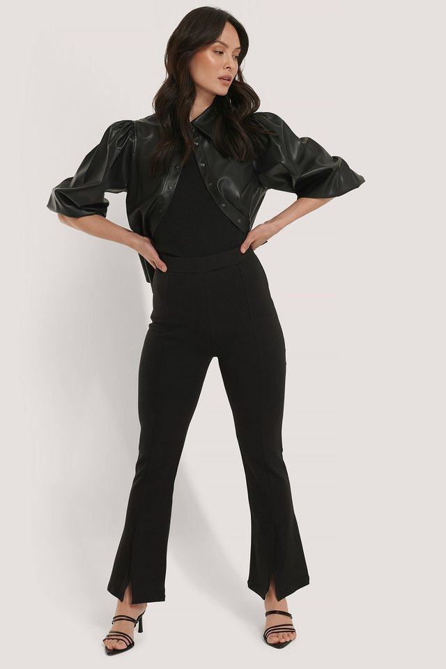 Front Split Trousers Outfit.