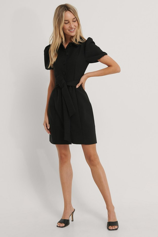 Belted Shirt Collar Mini Dress Outfit.