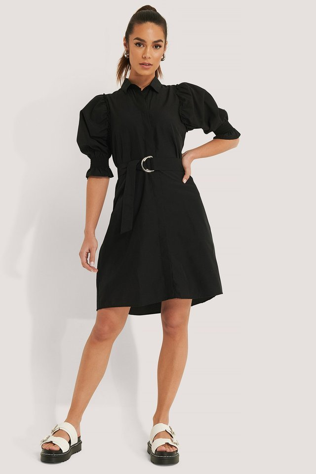 Belted Shirt Mini Dress Outfit.