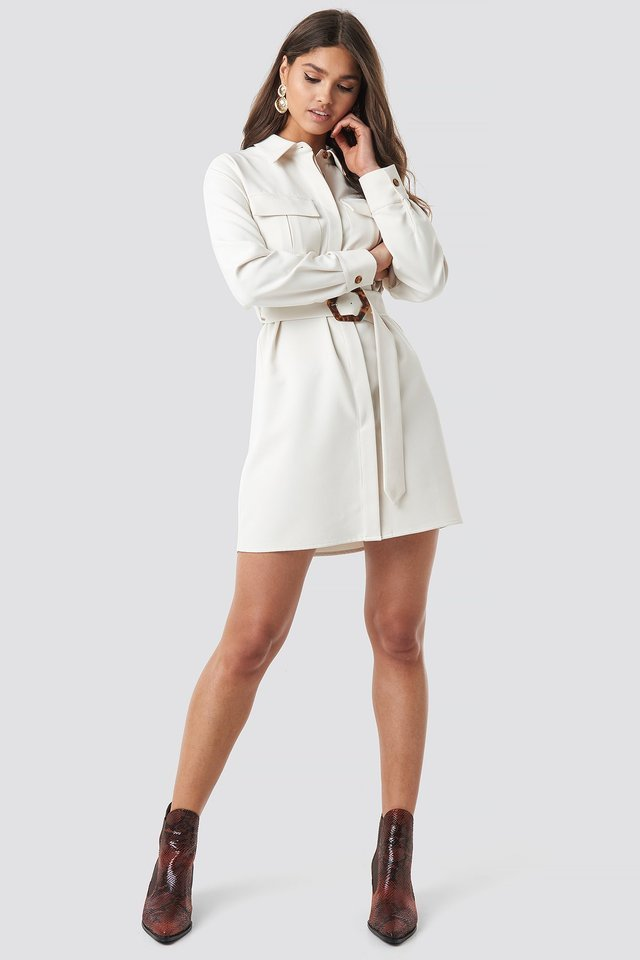 Belted Straight Fit Shirt Dress Outfit.