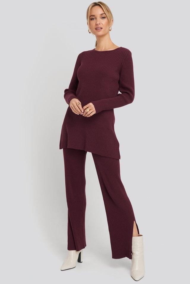 Burgundy Karbowany Długi Sweter Z Recyklingu