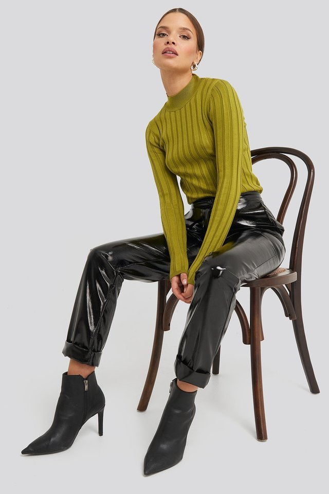 Ribbed High Neck Knitted Sweater Outfit.
