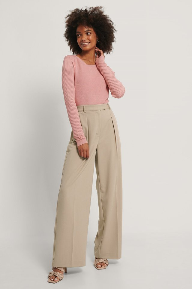 Ribbed Knitted Cropped Sweater Outfit.