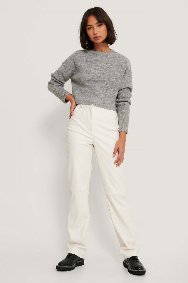 Round Neck Cable Knitted Sweater Outfit.