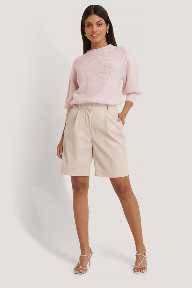 Short Puff Sleeve Knitted Sweater Outfit.