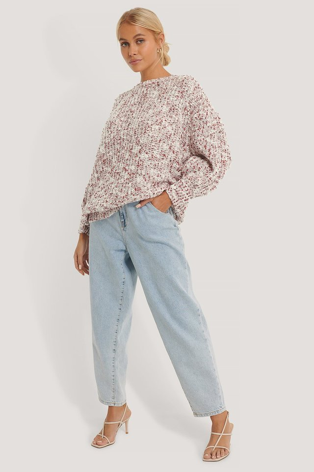 Short Puff Sleeve Melange Sweater Outfit.