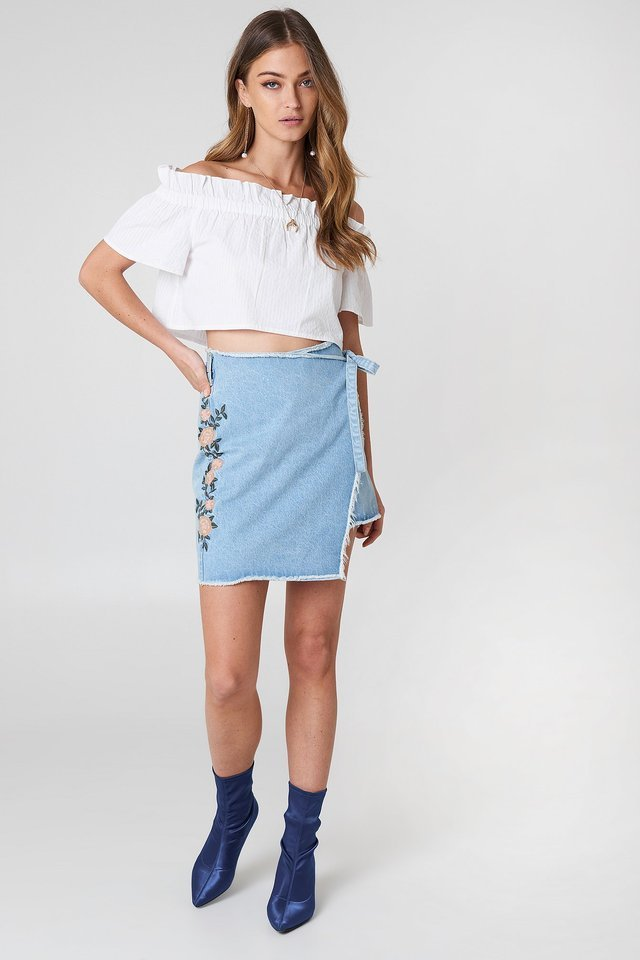 Blue Tied Denim Skirt