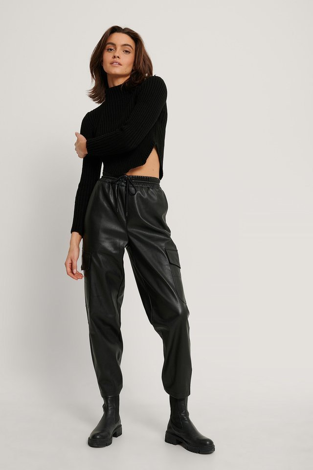 Elastic PU Pocket Pants Outfit.
