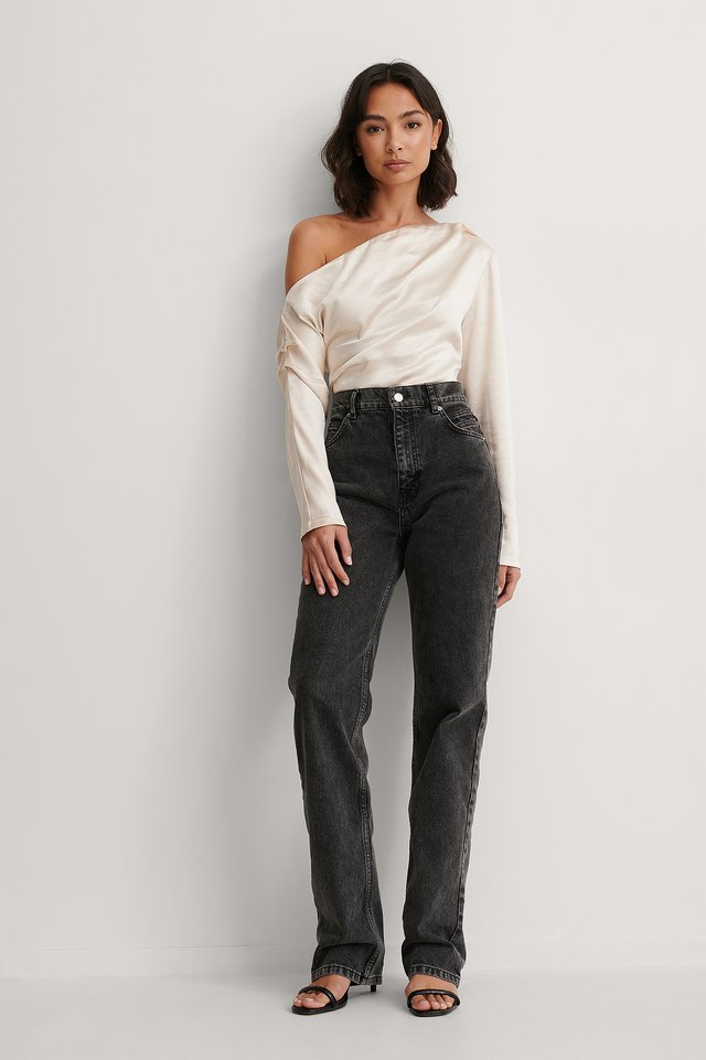 One Shoulder Satin Blouse Outfit.
