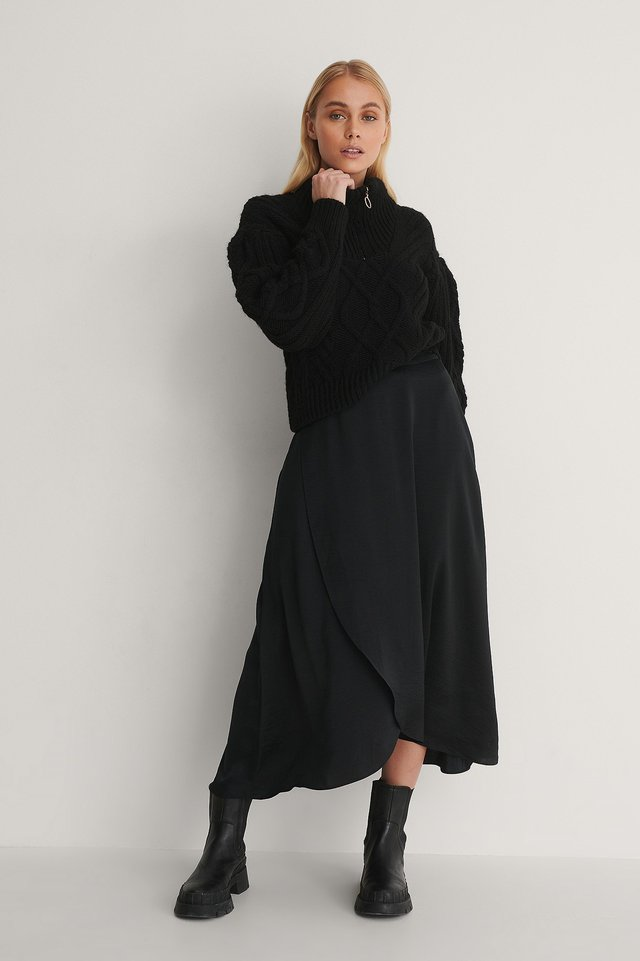 Overlap Skirt Outfit.