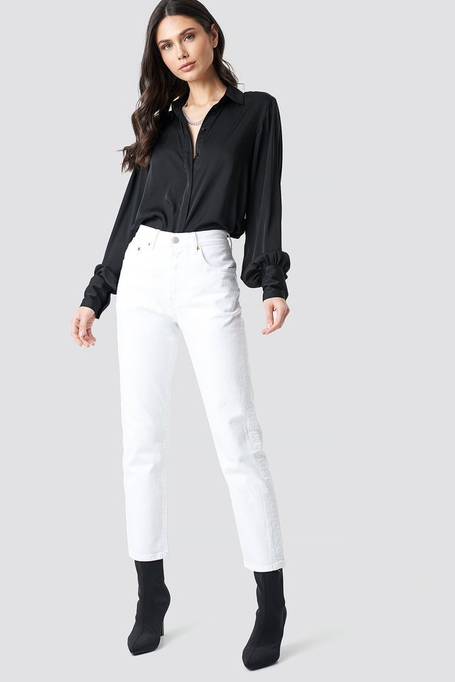 501 Crop Jeans White Outfit.