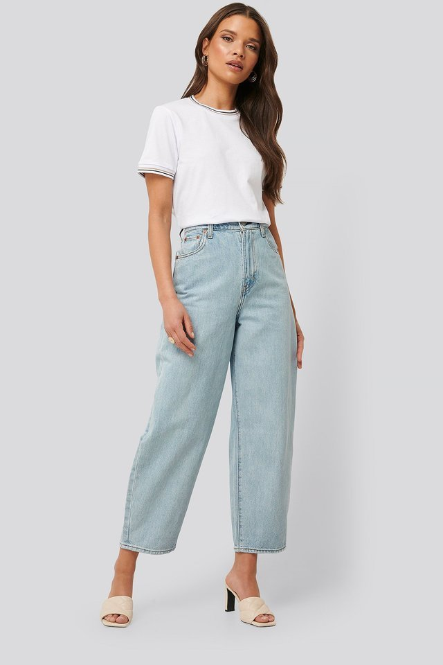 Baloon Leg Jeans Blue Outfit.