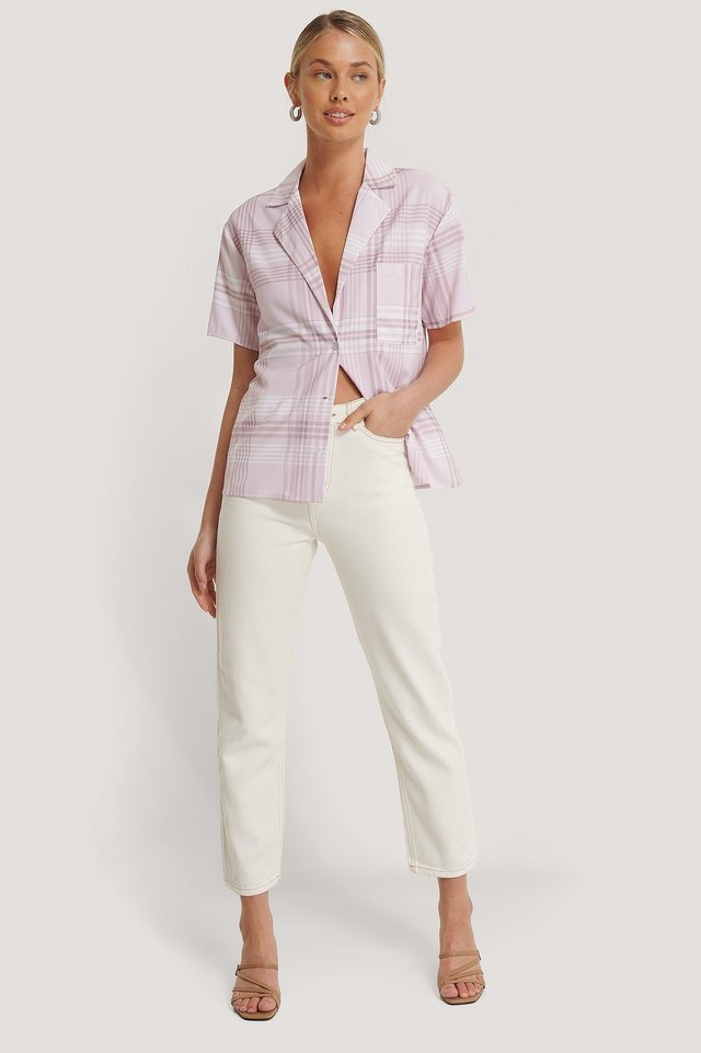 Lina High Waist Jeans White Outfit.