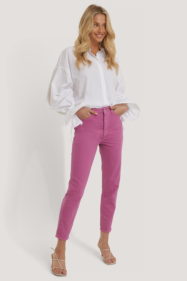Pastel High Waist Mom Jeans Pink Outfit.
