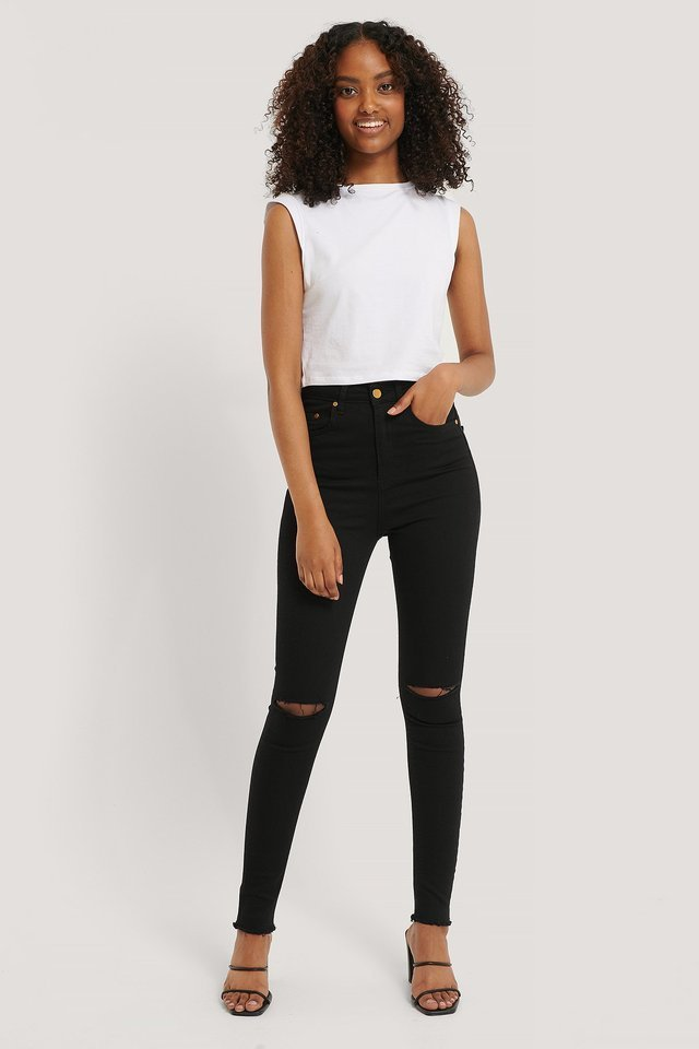 Ripped Knee Slim Denim Pants Black Outfit.