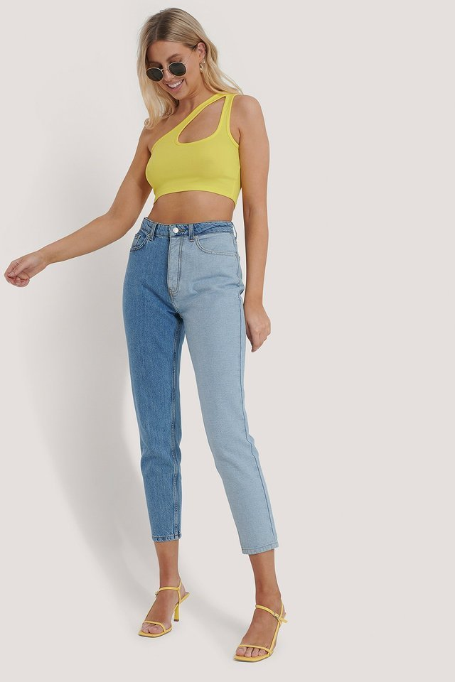 Two Toned High Waist Denim Blue Outfit.