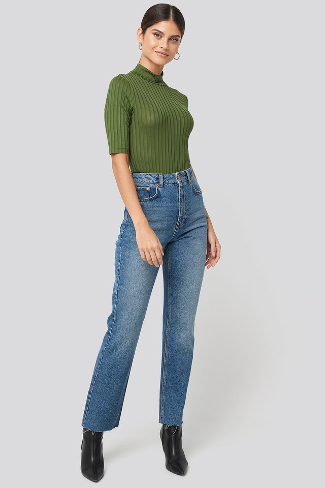Ribbed High Neck Body Outfit.