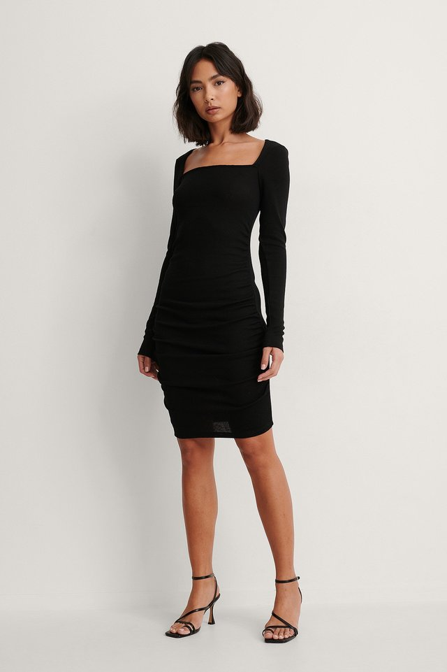 Black Recycled Square Neck Rouched Dress