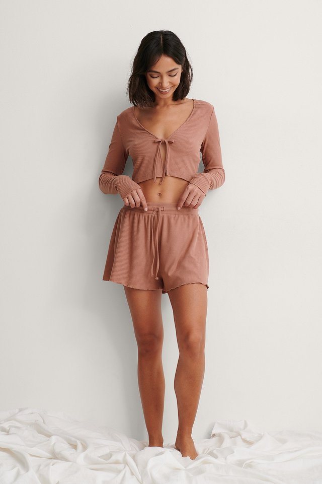 Dusty Pink Karbowany Top