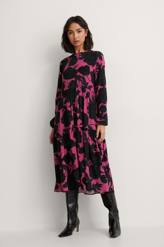 Long Sleeve Printed Flounce Dress Outfit!