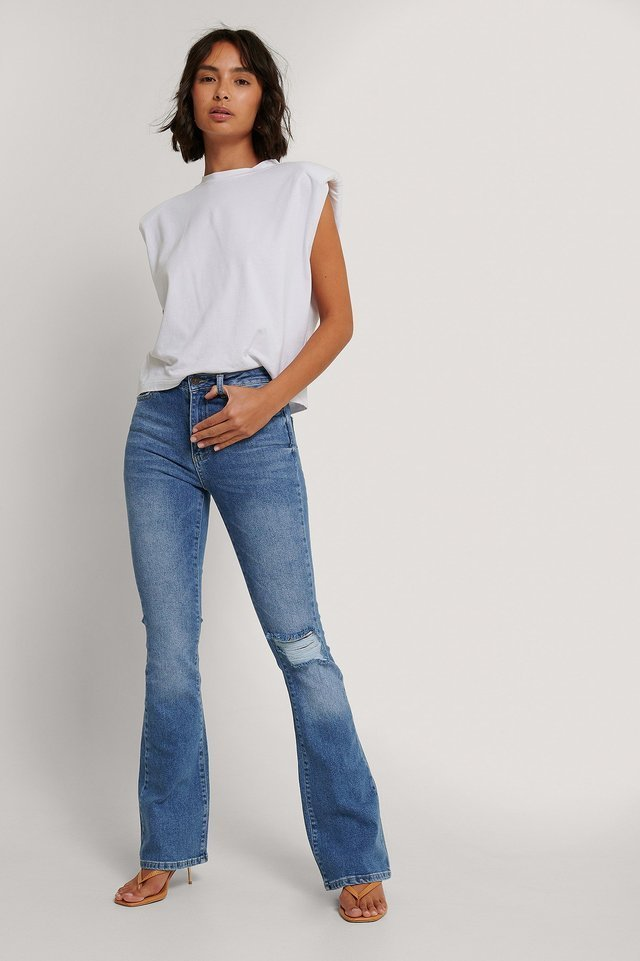 High Waist Flare Jeans Blue Outfit.